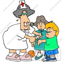 This is a picture of a nurse putting a band-aid on a child.